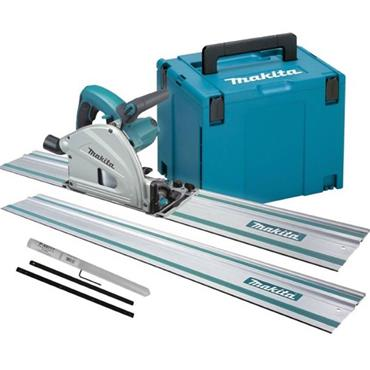 Makita SP6000J 165mm Plunge Saw Kit with 2x 1.4M Guide Rails & Rail Connector. Kit-Box