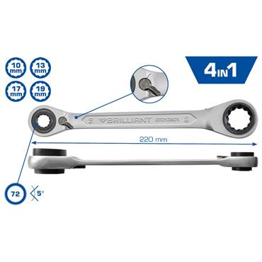 4 in 1, Double ratchet ring spanner, 10 x 13, 17 x 19 mm BT013901