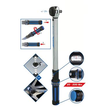 """1/2"""" Torque wrench with ratchet head, 20 - 200 Nm BT141901"""