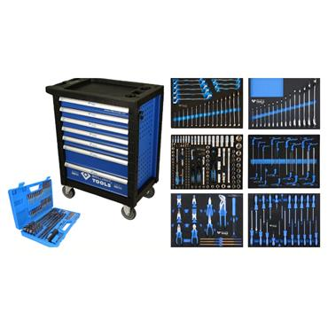 Tool cabinet with 7 drawers and 473 premium tools BT153473