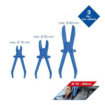 3-pcs Flexible hose clamps set, straight  BT521010
