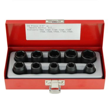 "3/8"" DRIVE 10 PIECE STANDARD IMPACT SOCKET SET"