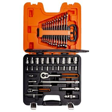 "1/4"" and 1/2"" Square Drive Socket Set with Combination Spanner Set S410"