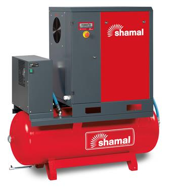 SHAMAL SCREW COMPRESSOR WITH TANK AND DRYER 20HP 10BAR 500LTR 15-10-500ES