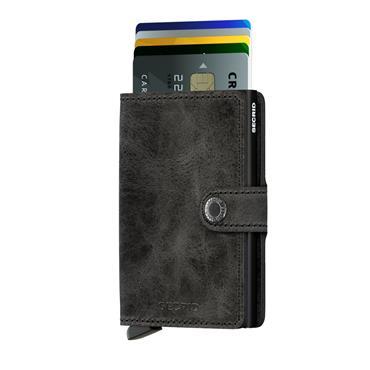 SECRID LEATHER VINTAGE CARD WALLET - BLACK