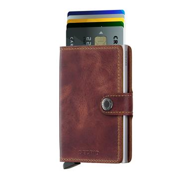 SECRID LEATHER VINTAGE CARD WALLET - BROWN