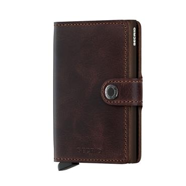 SECRID LEATHER VINTAGE CARD WALLET - CHOCOLATE