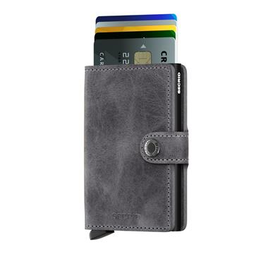SECRID LEATHER VINTAGE CARD WALLET - GREY