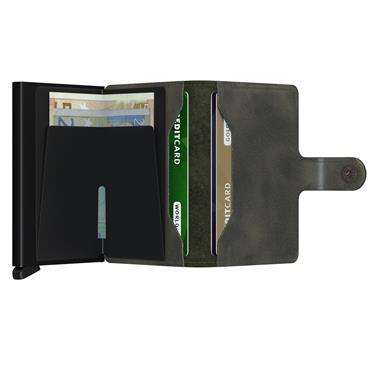 SECRID LEATHER VINTAGE CARD WALLET - OLIVE