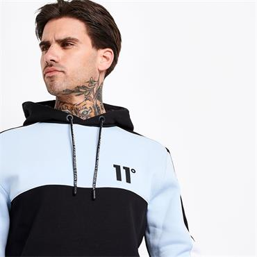 11 DEGREES BLOCK PIPED PULLOVER HOODIE - BLACK