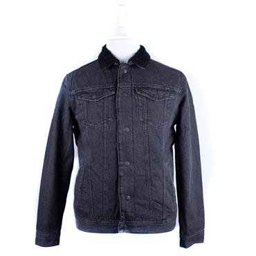 JACK&JONES BORG COLLAR DENIM JACKET - BLACK