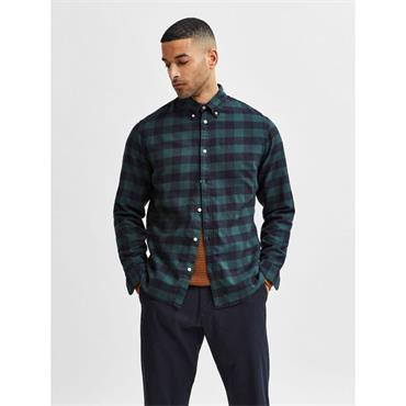 SELECTED SLIM FIT FLANNEL SHIRT - GREEN