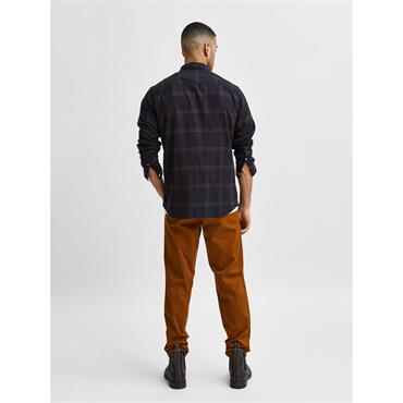 SELECTED SLIM FIT FLANNEL SHIRT - NAVY