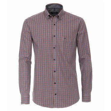 CASA-MODA DOBBY CHECK SHIRT - ORANGE