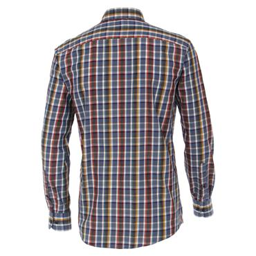 CASA-MODA DOBBY CHECK SHIRT - NAVY