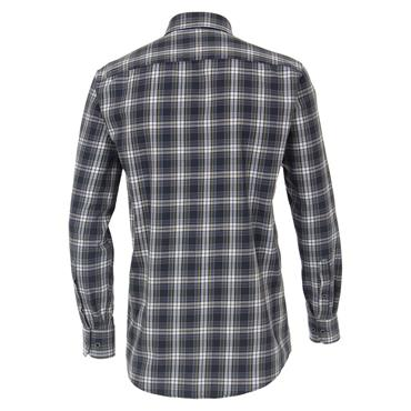 CASA-MODA TWILL CHECK SHIRT - NAVY