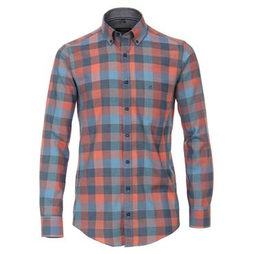CASA MODA TONAL CHECK SHIRT - ORANGE