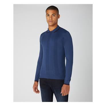 REMUS UOMO KNITTED ZIP POLO - BLUE