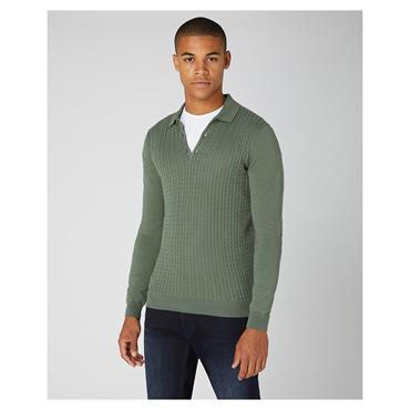 REMUS UOMO KNITTED POLO SHIRT - GREEN