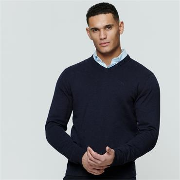 MAGEE CARN COTTON V-NECK KNIT - NAVY