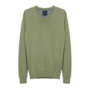 MAGEE CARN COTTON V-NECK KNIT - GREEN