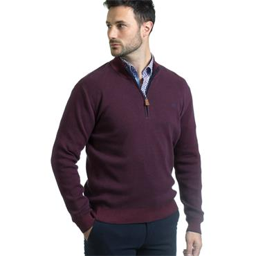 ANDRE CLIFDEN 1/2 ZIP KNIT - BURGUNDY
