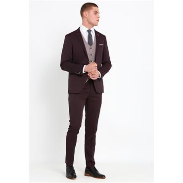 TRAVIS LOUIS SLIM FIT SUIT - BURGUNDY