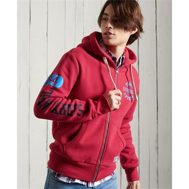 SUPERDRY TRACK&FIELD GRAPHIC ZIP HOOD - RED