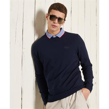 SUPERDRY ORANGE LABEL CREW KNIT - NAVY