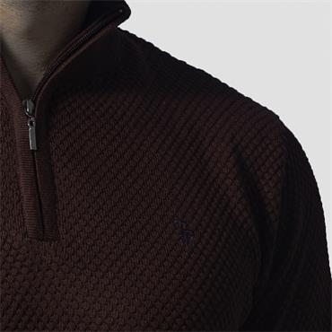 TOM PENN MOLLOY 1/4 ZIP KNIT - BURGUNDY