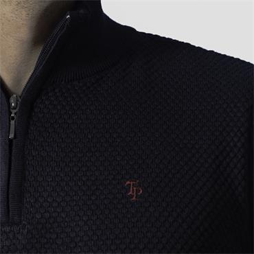 TOM PENN MOLLOY 1/4 ZIP KNIT - NAVY
