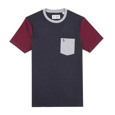 PENGUIN HEATHERED COLOUR T-SHIRT - NAVY