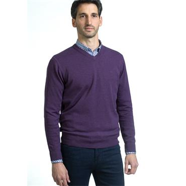ANDRE VALENCIA V-NECK KNIT - PURPLE