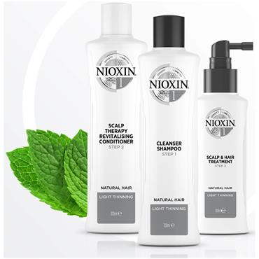 Nioxin 3-Part System 1 Loyalty Kit for Natural Hair with Light Thinning