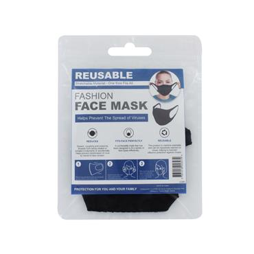 Adults Face Mask Reusable Black