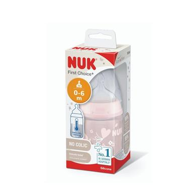 NUK First Choice + Temp Control Baby Rose Bottle size 1 (0-6m) Medium Teat