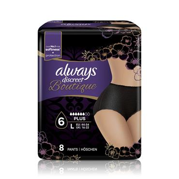 Always Discreet Boutique Incontinence Pants Black Large 9 Pack