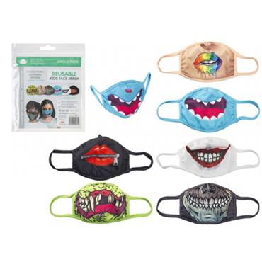 Childrens Face Mask Reusable Coloured Novelty 6 Pack