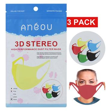 3D Stereo Sponge Masks 3 Pack (Yellow/Pink/Black)
