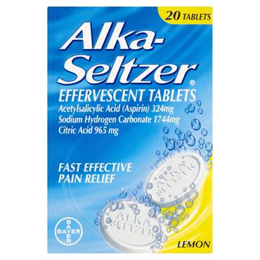 Alka Seltzer Lemon Pain Relief 20 Tablets
