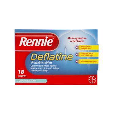 Rennie Deflatine Heartburn, Indigestion & Trapped Wind Relief 18 Tablets
