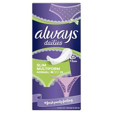 Always Dailies Slim Multiform Panty Liners 26 Pack