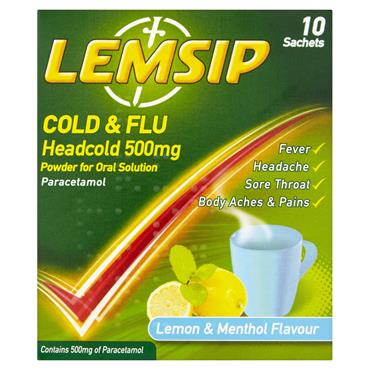 Lemsip Cold & Flu Headcold 500Mg Lemon & Menthol Flavour 10 Sachets