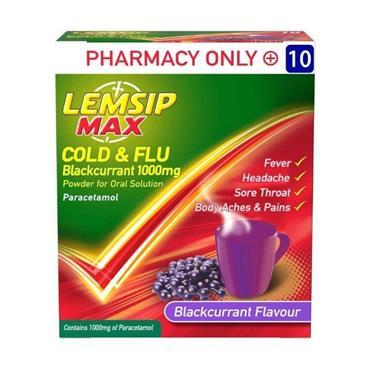 Lemsip Max Strength Cold & Flu Blackcurrant 10 Sachets