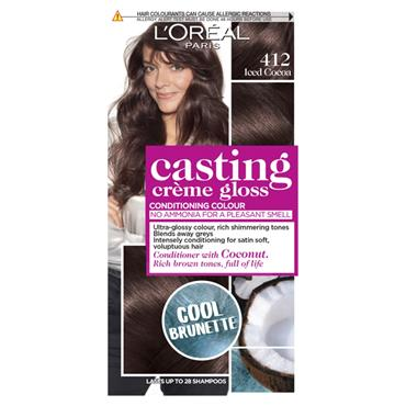 L'Oreal Paris Casting Creme Gloss 412 Iced Cocoa Cool Brunette Brown Semi Permanent Hair Dye