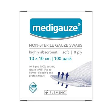 Medicare Medigauze Non-Sterile Gauze Swabs 8Ply 100'S