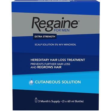 Regaine For Men Extra Strength Scalp Solution 3 x 60ml