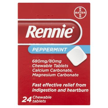Rennie Peppermint Heartburn & Indigestion Relief 24 Tablets