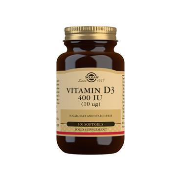Solgar Vitamin D3 400 IU (10 ug) Softgels 100s