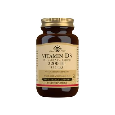 Solgar Vitamin D3 (Cholecalciferol) 2200 IU (55 µg) Capsules 50s